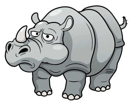 snuffelen: illustratie van cartoon rhino Stock Illustratie