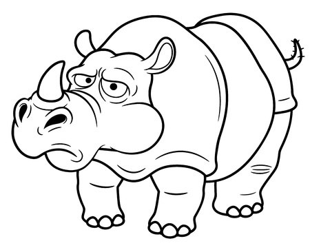 illustration of Cartoon rhino - Coloring book Vector