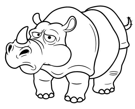 hunted: illustration of Cartoon rhino - Coloring book Illustration