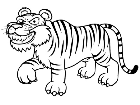 tiger isolated: illustration of Cartoon tiger - Coloring book