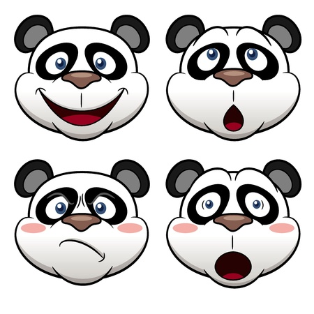 giant panda: Illustration of Cartoon panda face Illustration