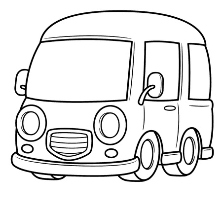 coloring book: illustration of Van vector - Coloring book