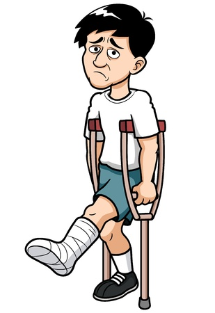 painfully: illustration of Man with a broken leg