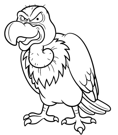 illustration of Cartoon vulture - Coloring book Vector