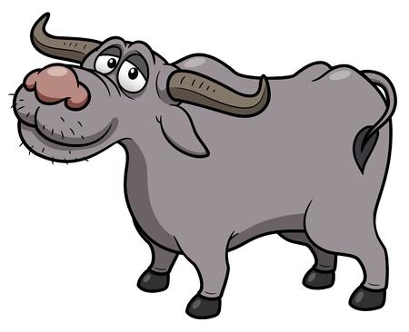 granja caricatura: ilustración de dibujos animados de Buffalo Vectores