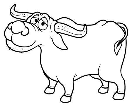 illustration of Cartoon Buffalo - Coloring book Vector