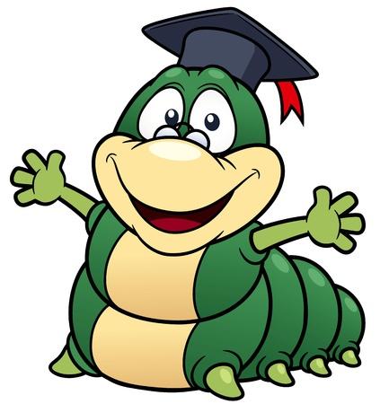 lombriz: ilustración de dibujos animados profesor gusano Vectores