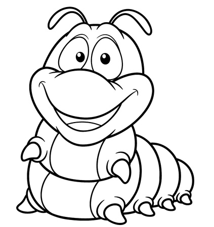 caterpillar: illustration of Cartoon worm - Coloring book Illustration