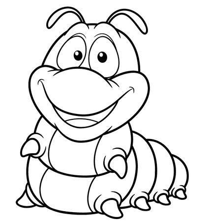 gusano caricatura: ilustración de gusano historieta - Coloring book Vectores
