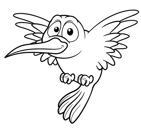 illustration of Cartoon Hummingbird - Coloring book Vector