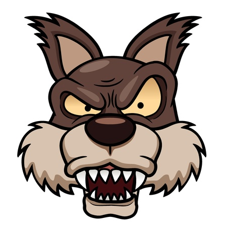 illustration of cartoon wolf face