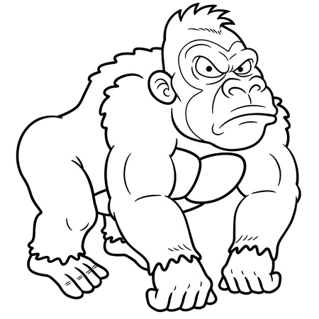 devious: illustration of Gorilla Cartoon - Coloring book Illustration