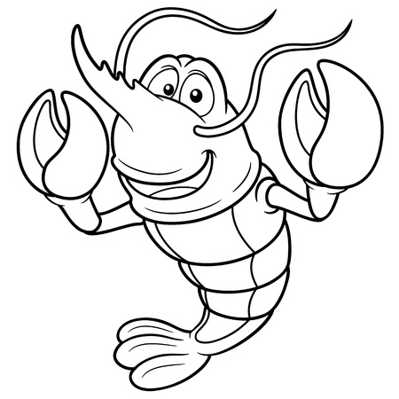 fishy: Vector illustration of Cartoon shrimp - Coloring book