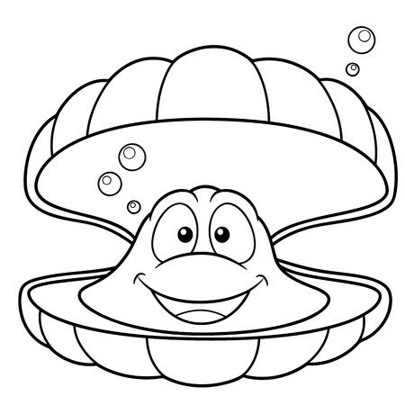 ostra: Ilustración vectorial de dibujos animados shell - Coloring book Vectores