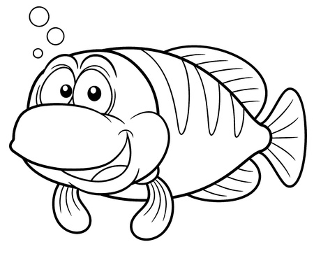 sea weeds: Vector illustration of Cartoon fish - Coloring book