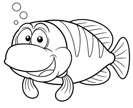 sea weed: Vector illustration of Cartoon fish - Coloring book