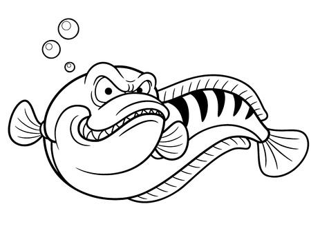 snake head fish: Illustrazione vettoriale di Giant snakehead pesce - libro di Coloring Vettoriali