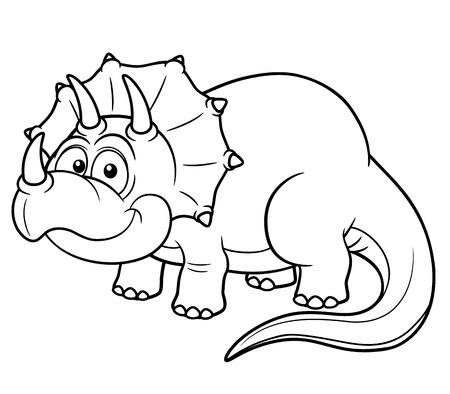 dinosaurio caricatura: Ilustración vectorial de dinosaurio de la historieta - Coloring book