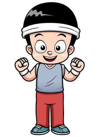 Vector Illustration of a Boy Demonstrating the Strength Vector