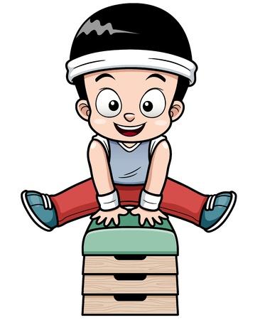 Illustrazione vettoriale di un ragazzo che salta buck ginnastica