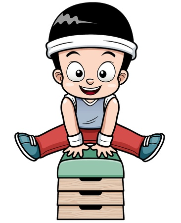 Ilustración vectorial de un muchacho que salta pelota de gimnasia