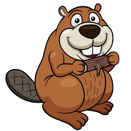 castor: Ilustración vectorial de castor de dibujos animados con una madera
