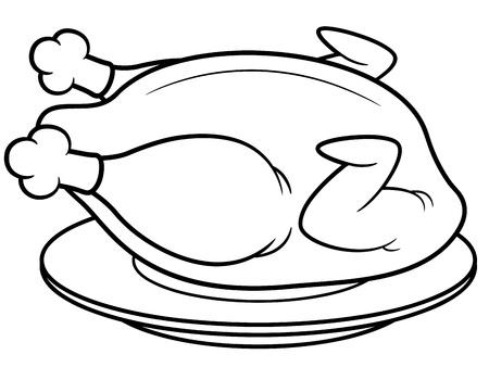 pollo arrosto: Illustrazione vettoriale di pollo arrosto