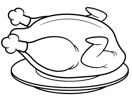 fried: Vector illustration of roast chicken