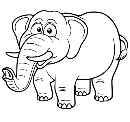 wildlife smile: Vector illustration of Cartoon Elephant - Coloring book Illustration