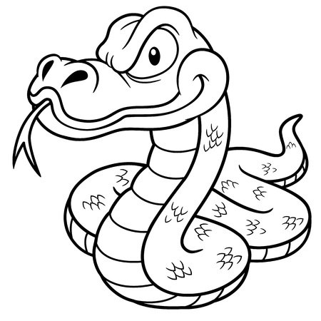 forked tongue: Illustration of Cartoon Snake - Coloring book