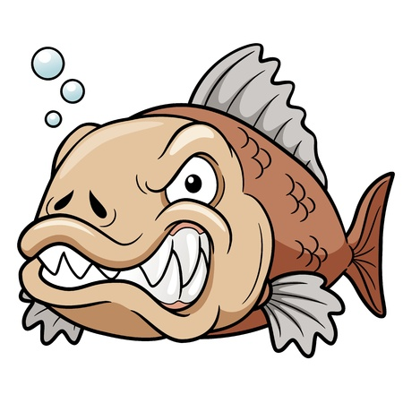 illustration of angry fish cartoon Vector