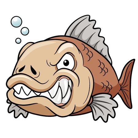dientes caricatura: ilustraci�n de dibujos animados de pescado enojado