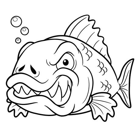 piranha: illustration of angry fish cartoon - Coloring book