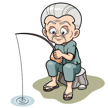vieil homme assis: Vector illustration de la p�che Cartoon man Vieux