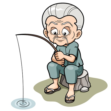Vector illustration of Cartoon Old man fishing Vector