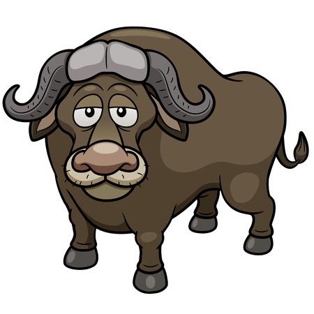 Illustrazione vettoriale di bufalo africano cartone animato Vettoriali
