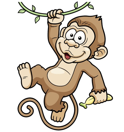 chimpanzees: Vector Illustration of Cartoon Monkeys