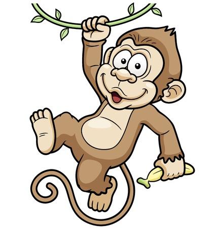 jungle jumping: Vector Illustration of Cartoon Monkeys