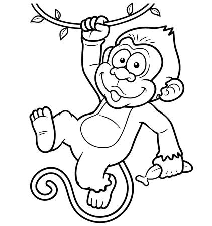 jungle jumping: Vector Illustration of Cartoon Monkeys - Coloring book