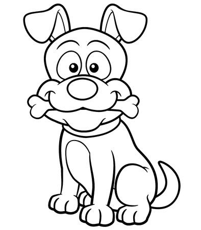 perro caricatura: Ilustraci�n vectorial de perro de dibujos animados - Coloring book
