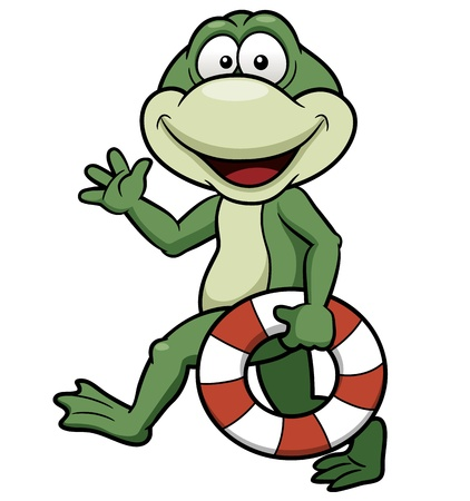 illustration of Cartoon green frog Vector