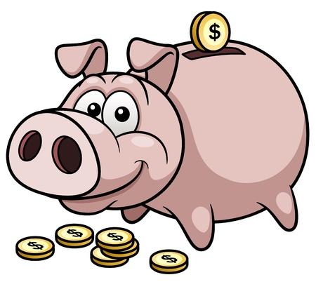 Happy Piggy Bank Illustration