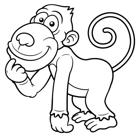 Vector illustration of Cartoon Monkey - Coloring book Vector