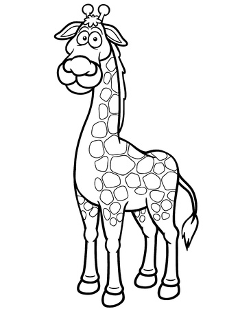 Vector illustration of giraffe cartoon - Coloring book Vector