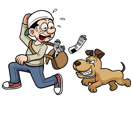 street vendor: Vector illustration of paperboy running a dog