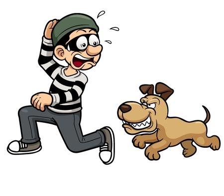 dieven: Vector illustratie van dief loopt een hond