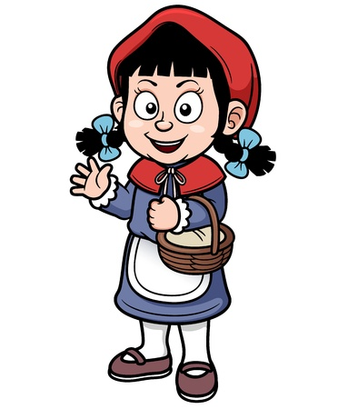 cartoon little red riding hood: Vector illustration of Little Red Riding Hood