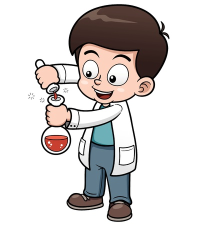 cartoon science: Vector illustration of Little Scientist holding test tube