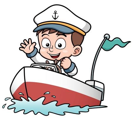 barco caricatura: Ilustración vectorial de barco Boy conducción Vectores