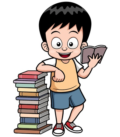 student with books: Vector illustration of boy reading book